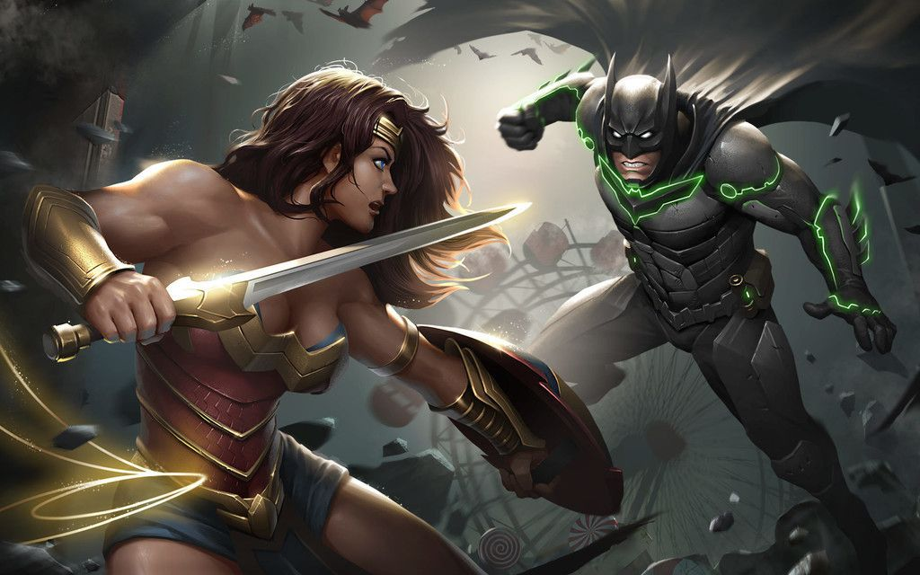 Desktop Wallpaper Injustice 2 Video Game Wonder Woman Batman Fight Hd Image Picture Background Shnp9q