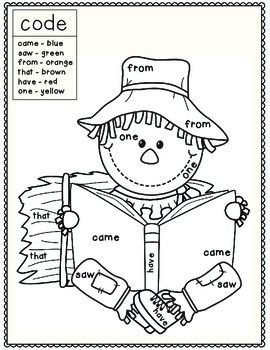 Fall Scarecrow Themed Color By Sight Word Sight Word Coloring Fall Kindergarten Sight Words