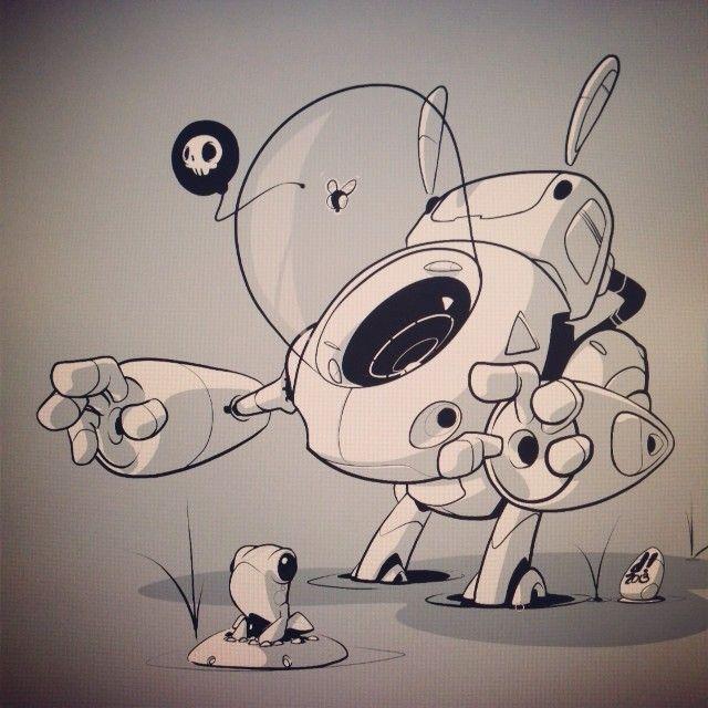 robot and frog art by chocolatesoop. found on https://catchoocutiepie.wordpress.com