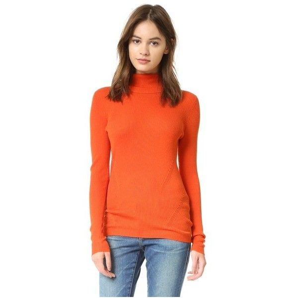 Diane von Furstenberg Sutton Turtleneck ($230) ❤ liked on Polyvore featuring tops, sweaters, orange, turtle neck sweater, long sleeve sweater, diane von furstenberg sweaters, chunky cable knit sweater and cable knit sweaters