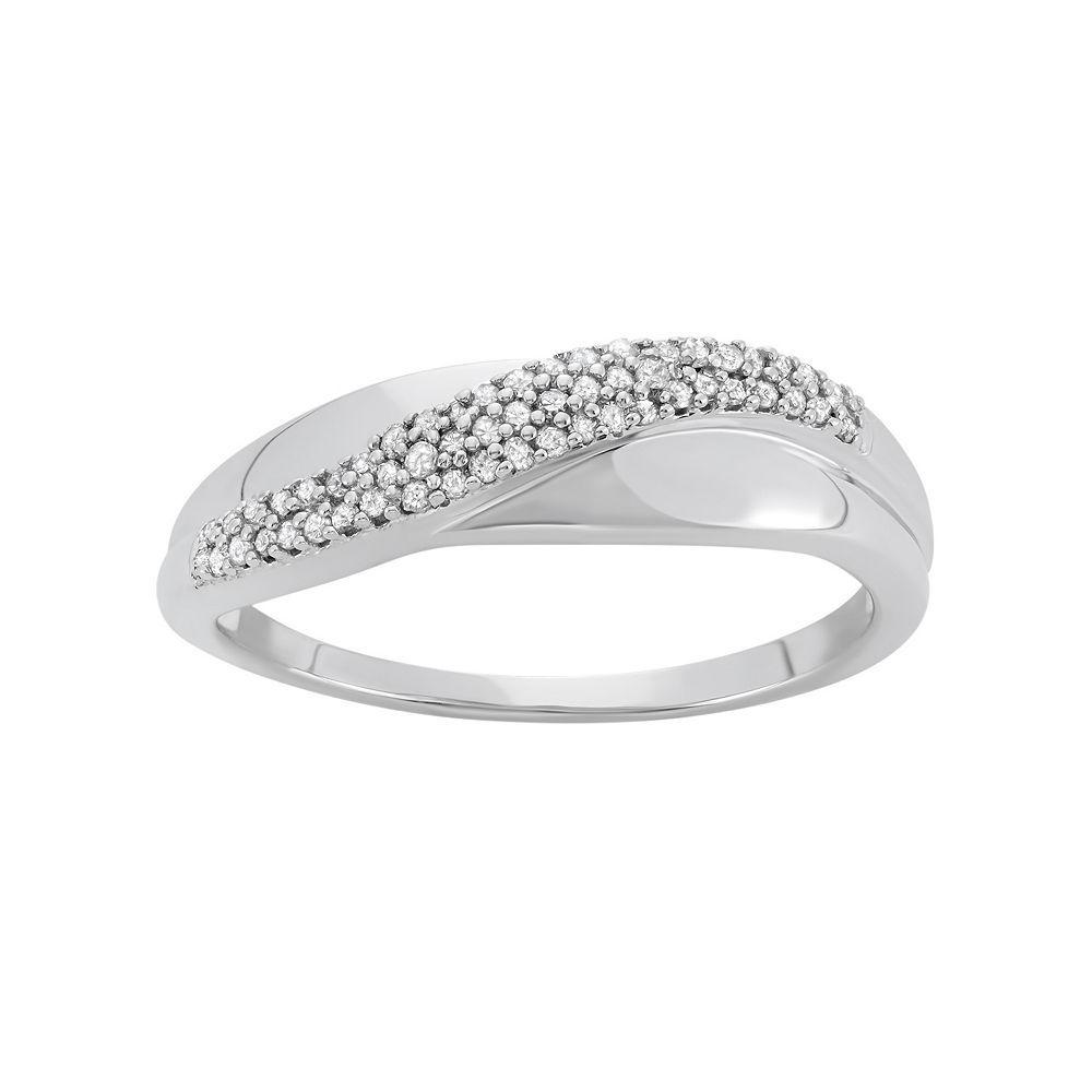 1/6 Carat T.W. Diamond 10k White Gold Ring, Women's, Size: 7