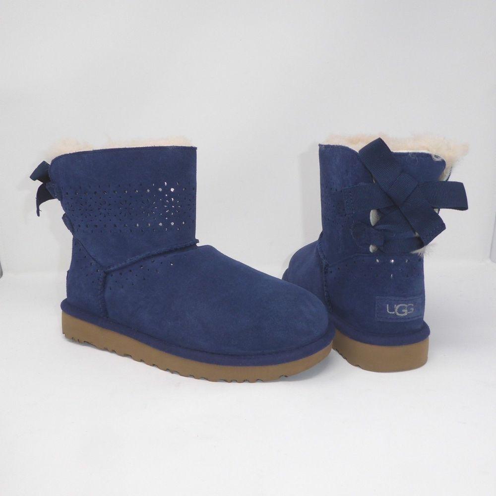 b0ac069d62d UGG DAE SUNSHINE PERF NAVY BAILEY BOW MINI BOOTS Size 7 NIB #fashion ...