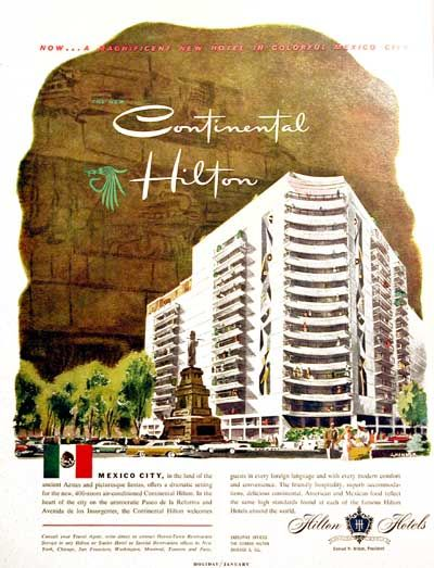1957 Hilton Continental Hotels Original Vintage Advertisement