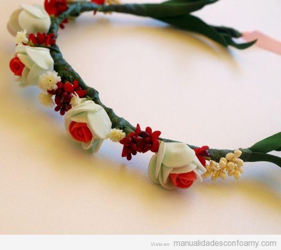 Diadema flores foamy varios pinterest manualidades - Como hacer diademas ...