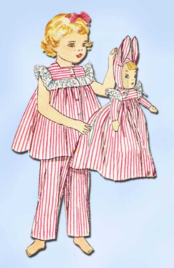 1950s Vintage Toddler Girls PJs & Doll 1952 Simplicity Sewing ...