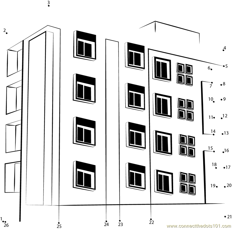 skyscaper connect dots yahoo image search results - Apartment Building Coloring Pages