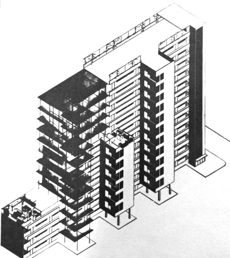 1929 study for tall building in spandau haselhorst walter gropius arch xx neue. Black Bedroom Furniture Sets. Home Design Ideas