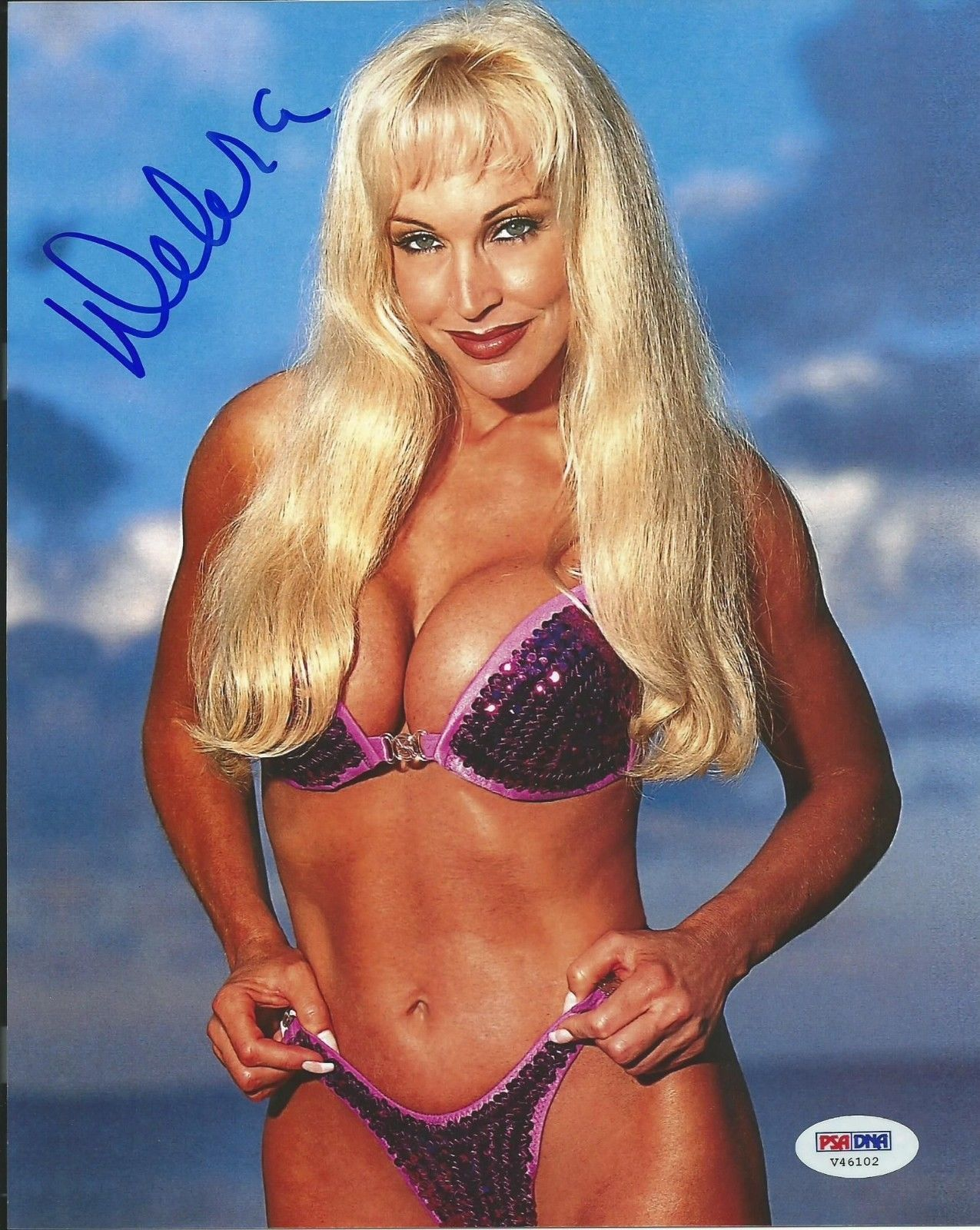 former wwe diva debra images high quality autograph - purple