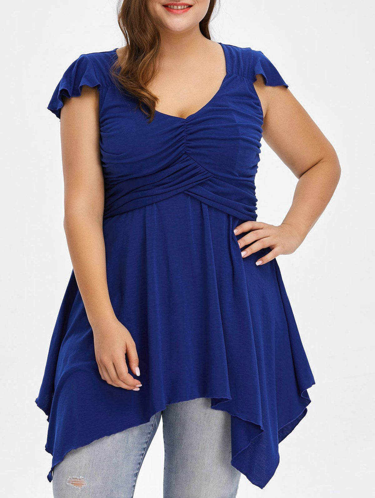 Plus size cap sleeve asymmetrical ruched tshirt cheap fashion