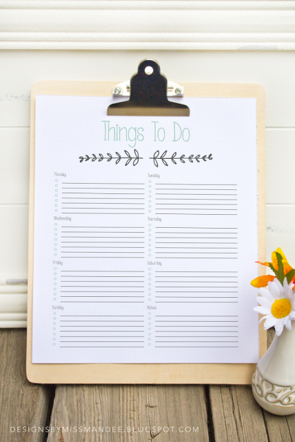 to save / print - Password List & Things To Do Printable - Designs By Miss Mandee