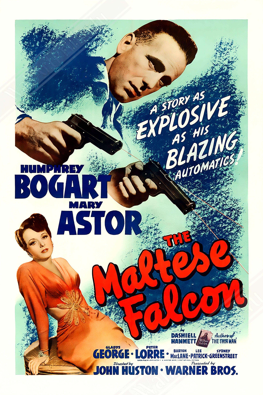 Vintage Movie Poster The Maltese Falcon Vintage 1941 Poster Etsy In 2020 Maltese Falcon Movie Bogart Movies Maltese