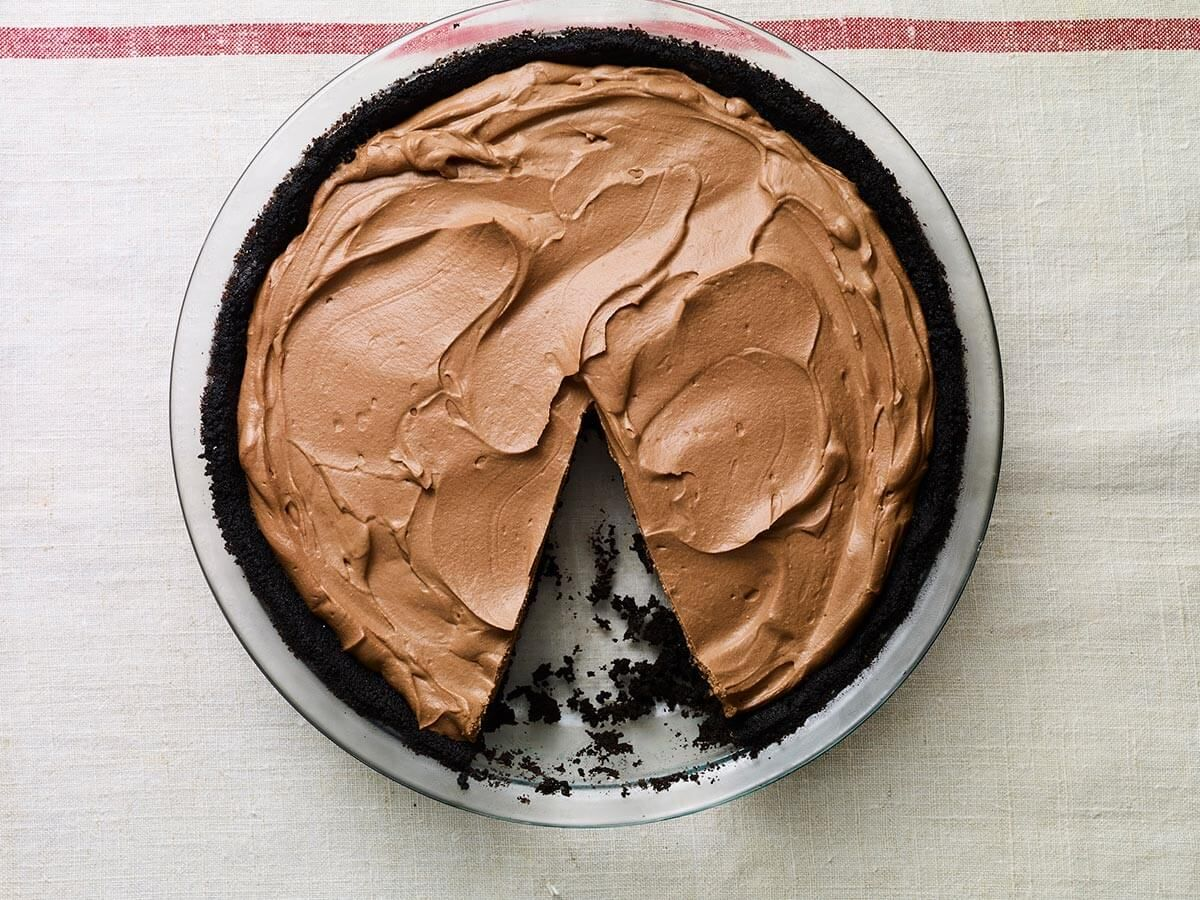 No Bake Chocolate Pie I made with my oldest son in the