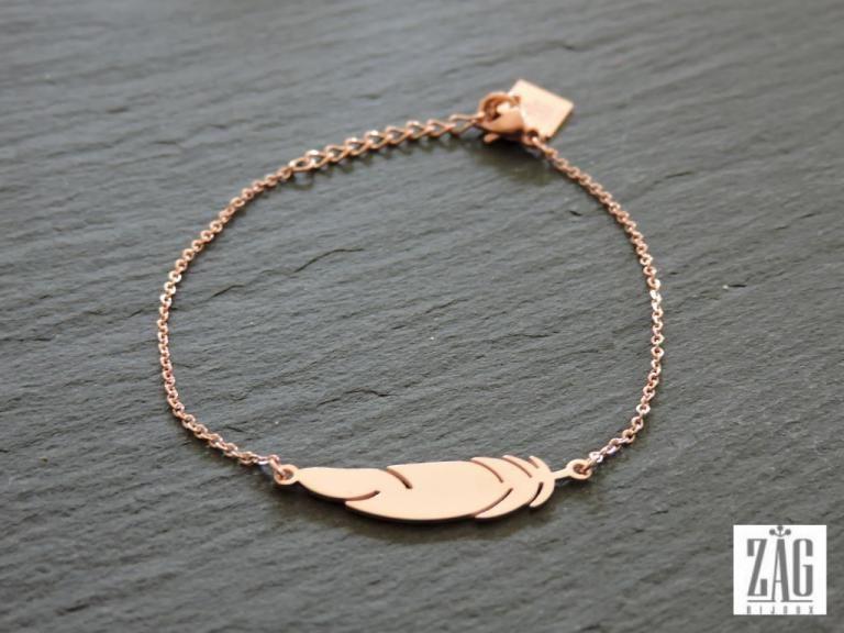 Bracelet ZAG plume SB0949 acier rose