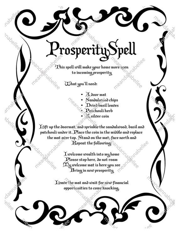 Witches' Prosperity Spell Image Digital Clipart | Etsy