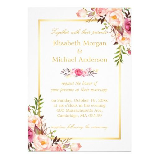 Elegant Floral Chic Gold White Formal Wedding Invitation Zazzle Com Formal Wedding Invitations Floral Wedding Invitations Elegant Wedding Invitations