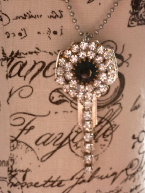 Brass Key Necklace with Vintage Bling by bling33 on Etsy, $24.00