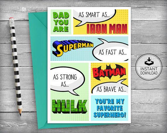 Superhero Birthday Card Dad Birthday Cards Father Birthday Card