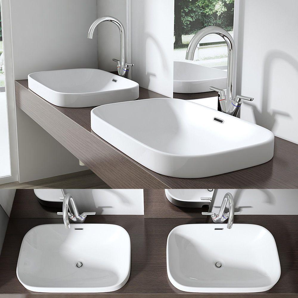 Rounded Edge Recessed Sunken Basin Sink Wash Bowl Countertop Shelf Vanity Unit In 2020 Sink Basin Sink Sink Vanity Unit