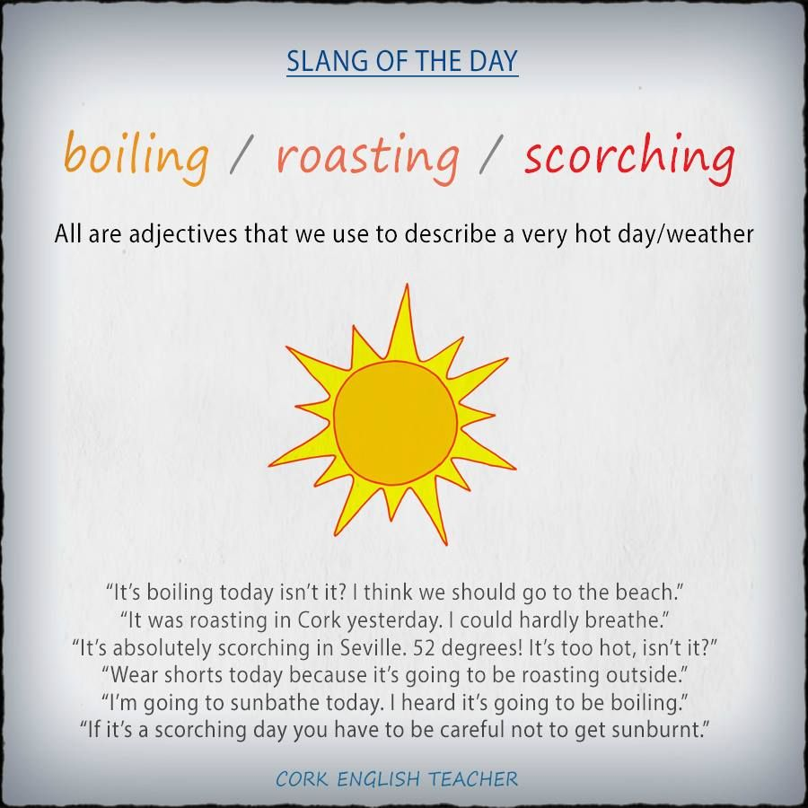 English vocabulary - talking about hot weather