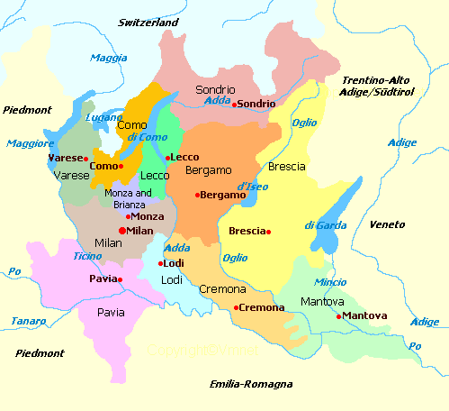 Map of Lombardy with lakes & provinces | Italy: Lombardy | Italy map ...