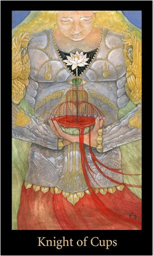 Knight of Cups - Mary El Deck - A person with long blond hair, a red skirt, and silvery armour with an eye over their heart, holds a chalice of blood out-of-which a lotus blooms.