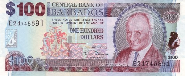 Barbados 100 Dollars Bill
