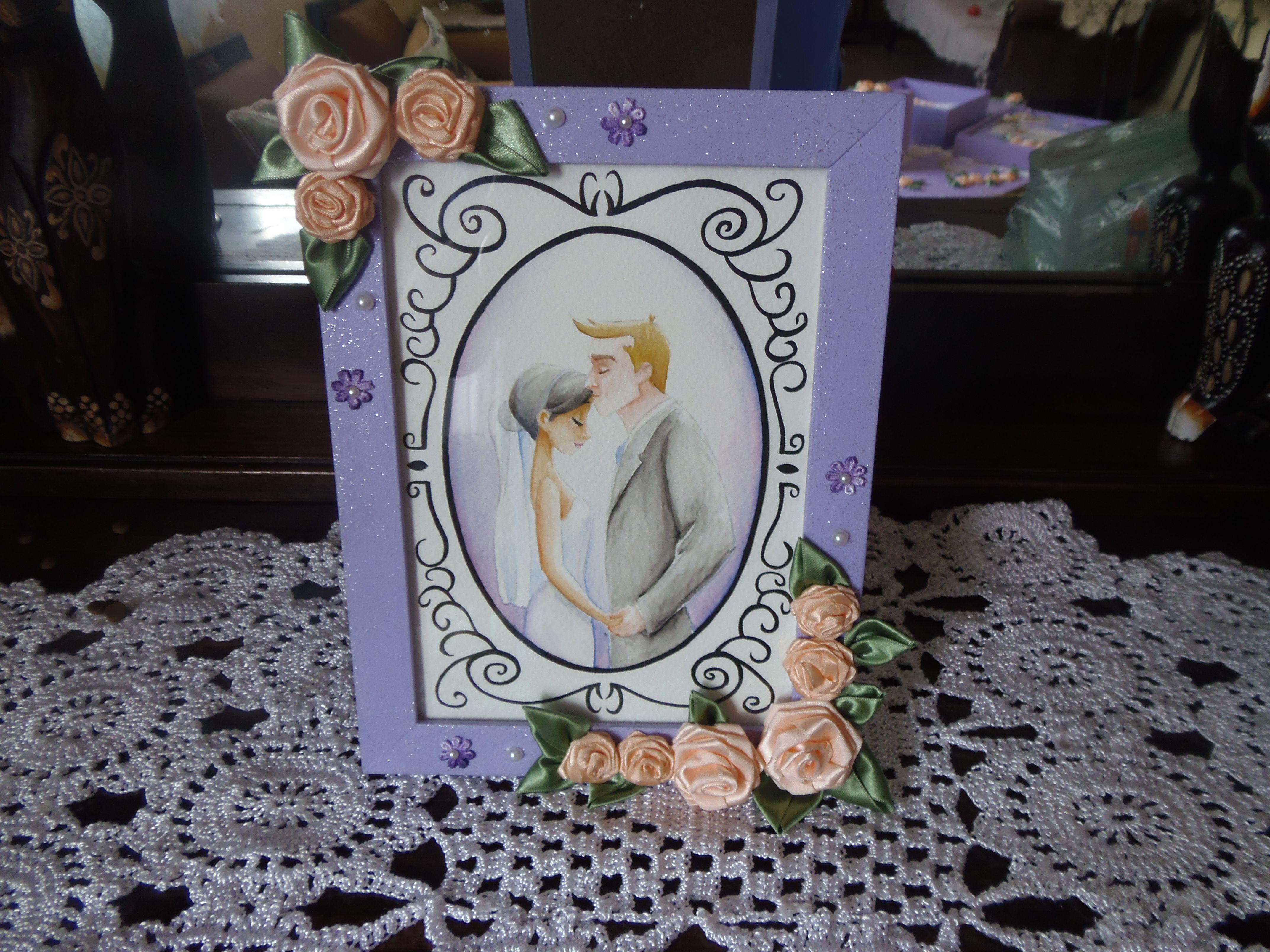 aquarela pintada pela minha filha om desenho dos noivos.