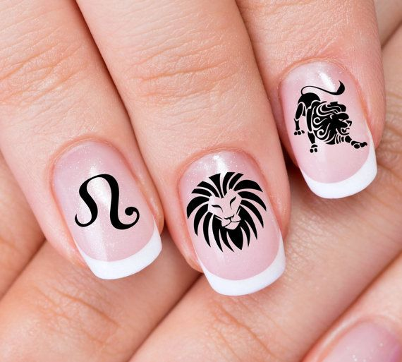 Free Shipping 30 Leo Nail Art Zle Zodiac Lion Astrology Symbols Black Waterslide Transfer Decals Not Stickers Or Viny Nail Art Nails Supernatural Nails