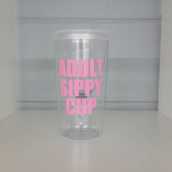 Adult Sippy Cup Wine Tumbler Clear Lid with Light by ElleQDesigns