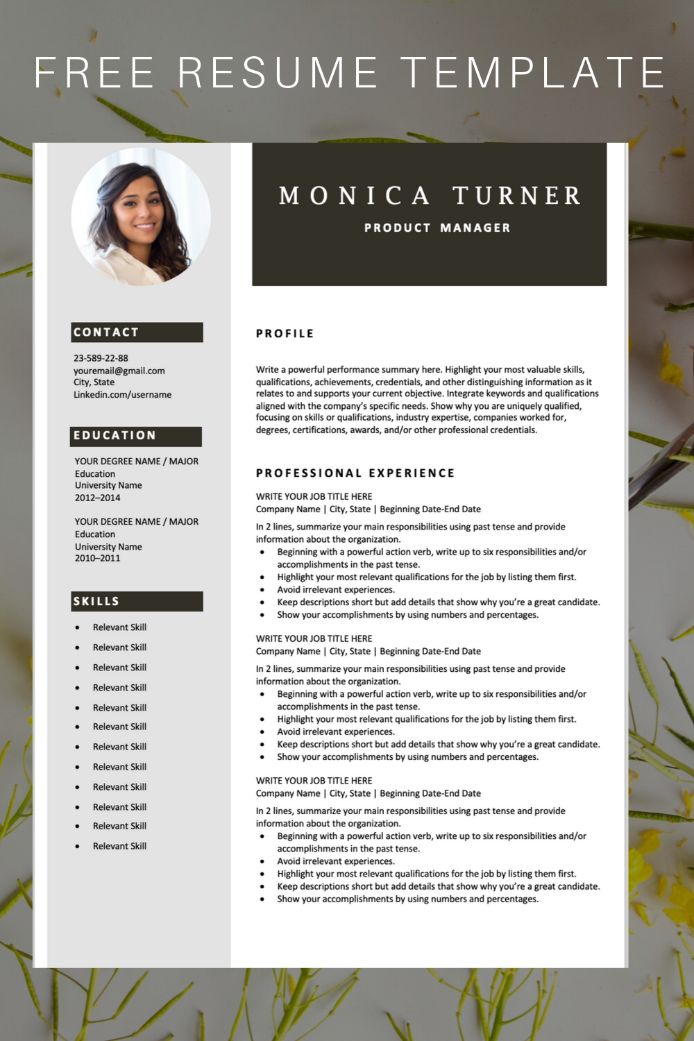 Download this professional resume template. You can easily ...