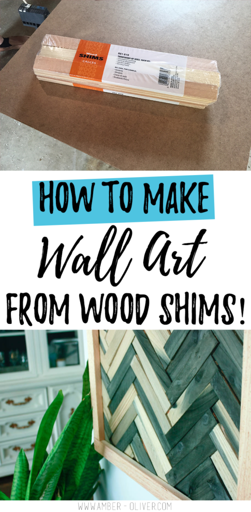 DIY Wall Art  Cheap and Easy Wall Art Using Wood Shims is part of Wood wall art diy, Wall art diy easy, Wood art diy, Diy wall art, Industrial wall art, Diy wood wall - I used wood shims to make a quick and easy DIY wall art  I didn't waste time staining each piece  check out what product makes this project even easier!