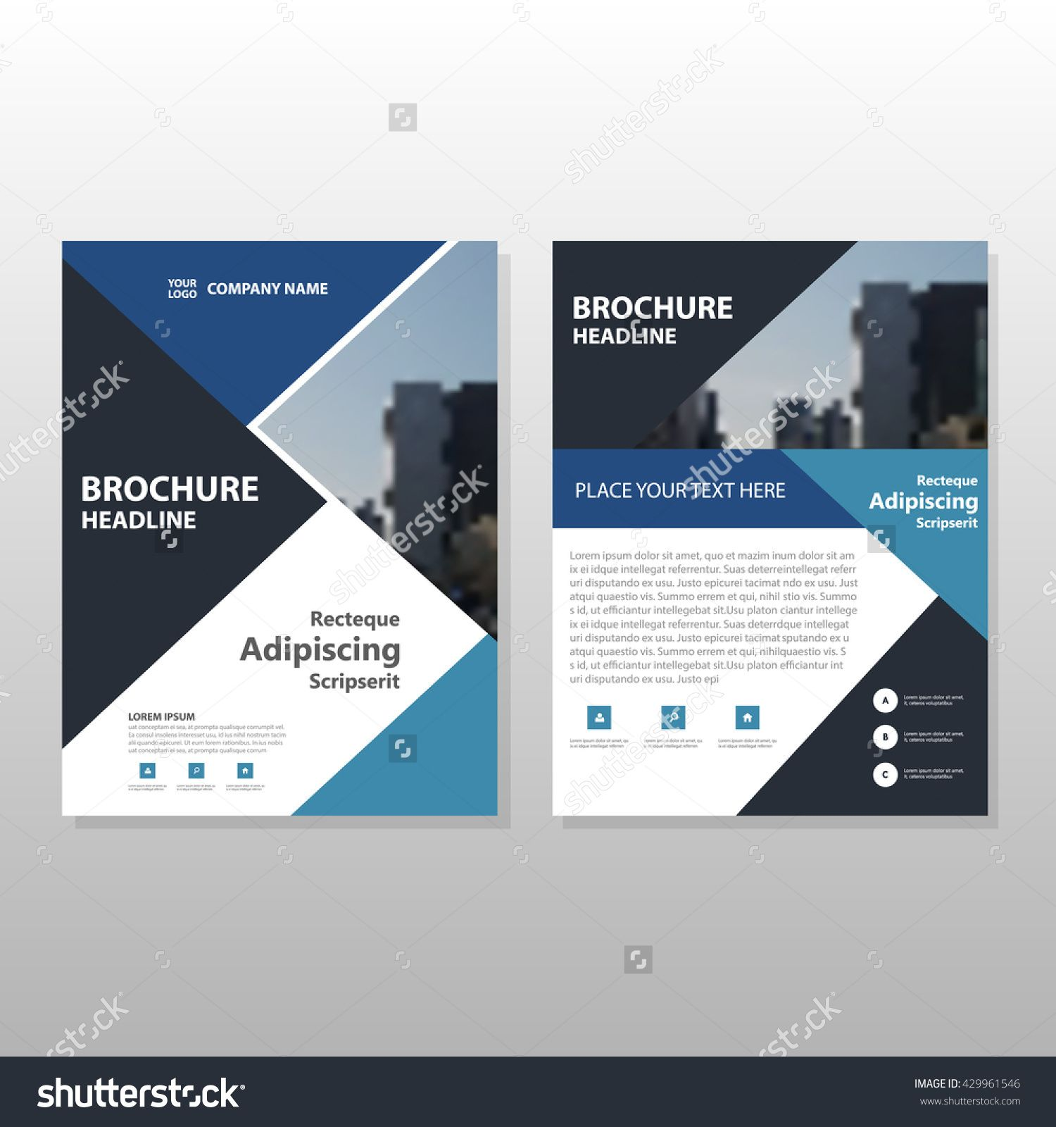 blue black triangle annual report leaflet brochure flyer template design book cover layout design abstract business presentation template a4 size design