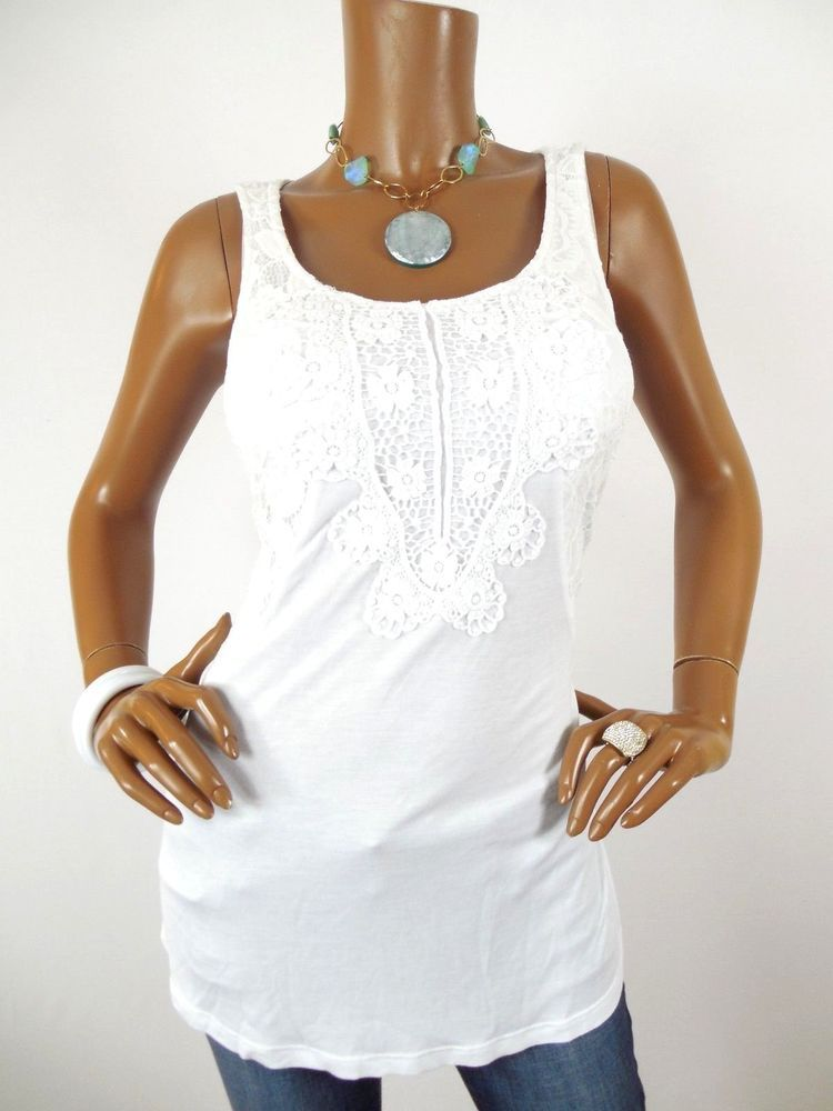 d09831ea810331 CUPIO Womens Top M NWT Summer Shirt Stretch Sleeveless Embroidery Lace Side  Wht  Cupio  Blouse  Casual
