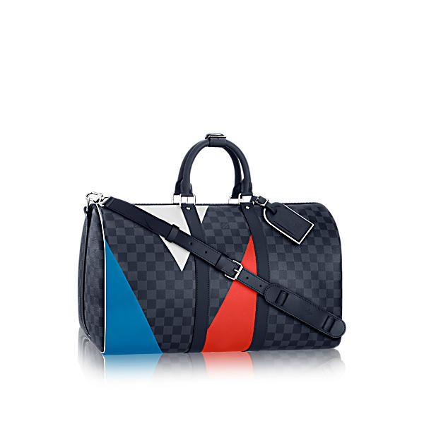 LOUIS VUITTON Keepall Bandoulière 45 Regatta.  louisvuitton  bags  shoulder  bags  leather  canvas  lining  metallic e4db99aafba