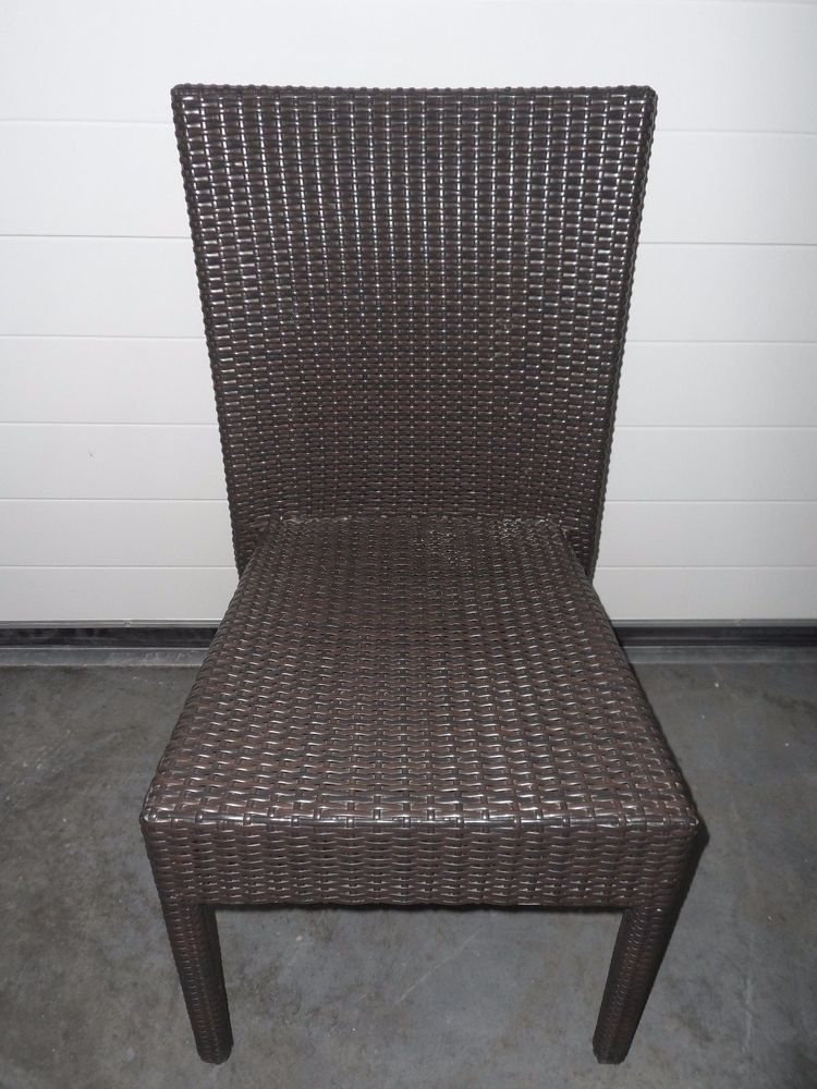 Two Tone Brown Plastic Rattan Chair Garden Outdoor