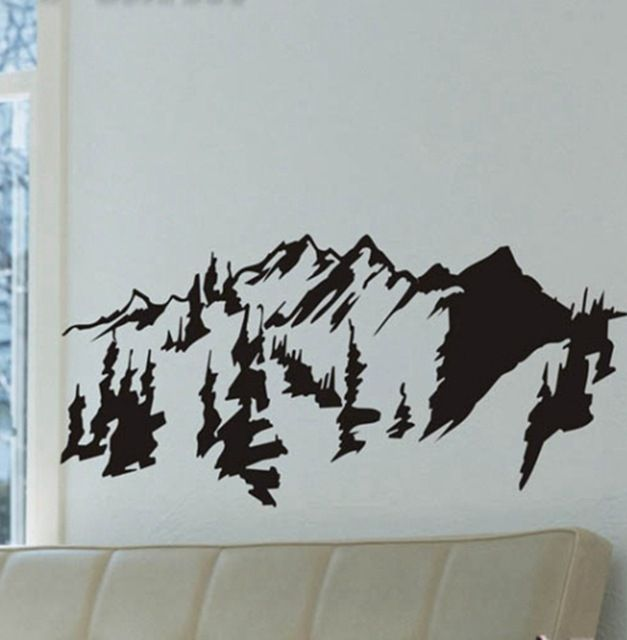 Chinese style mountains trees wall art decal sticker removable traditional chinese painting vinyl wall stickers