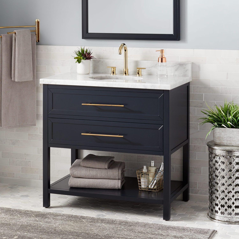 A Sleek Yet Practical Design Makes The 36 Powder Room Vanity Single Bathroom Vanity Blue Bathroom Vanity