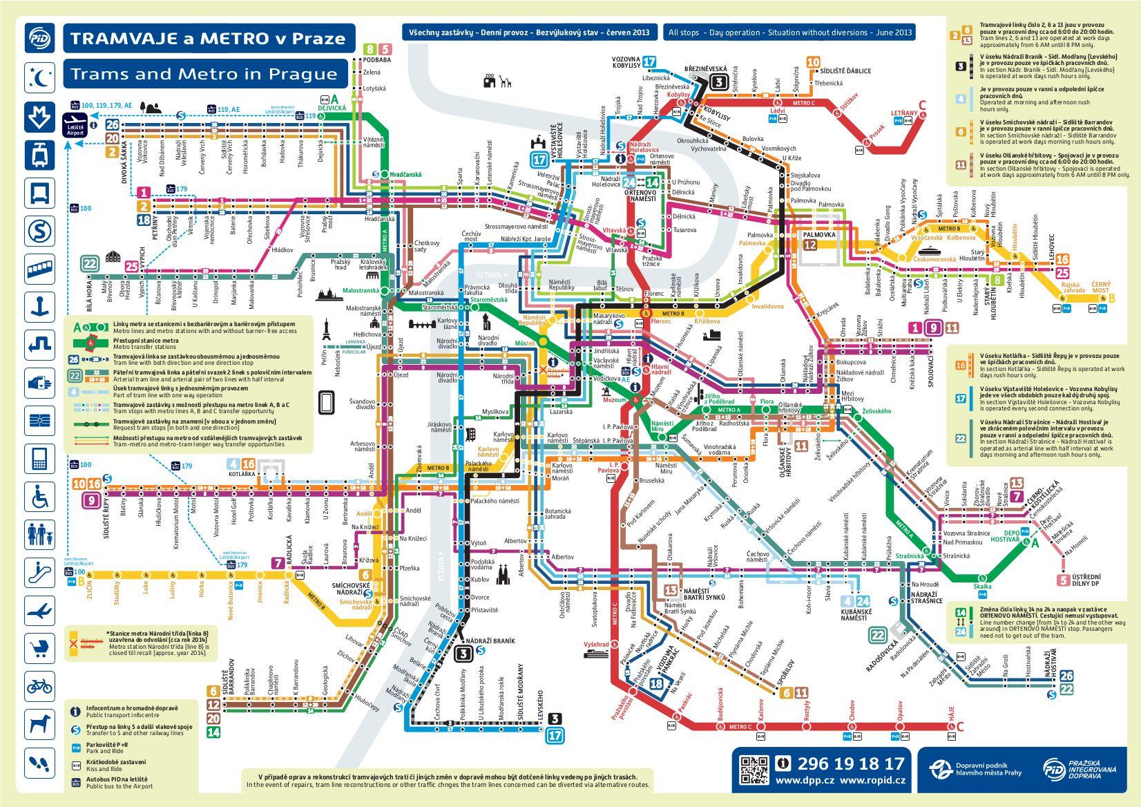 prague tram map english Prague Tram Transit Map Metro Map Map prague tram map english