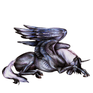 Winged unicorn Mustang Mouse Gray