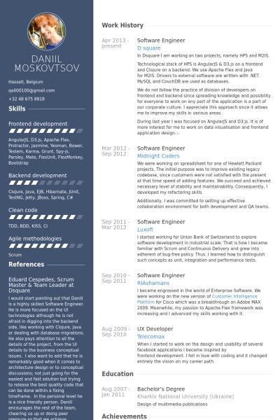 Risultati Immagini Per Curriculum Vitae Developer Resume Examples Software Engineer Good Resume Examples