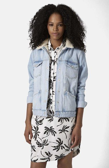 Topshop Denim Jacket with Faux Shearling Collar available at #Nordstrom