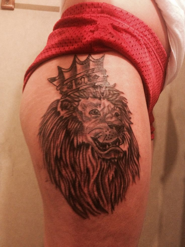 4729e9a7e37c4 Leo Lion Thigh Tattoos Leo tattoo lion crown thigh   3d Lion Tattoo ...