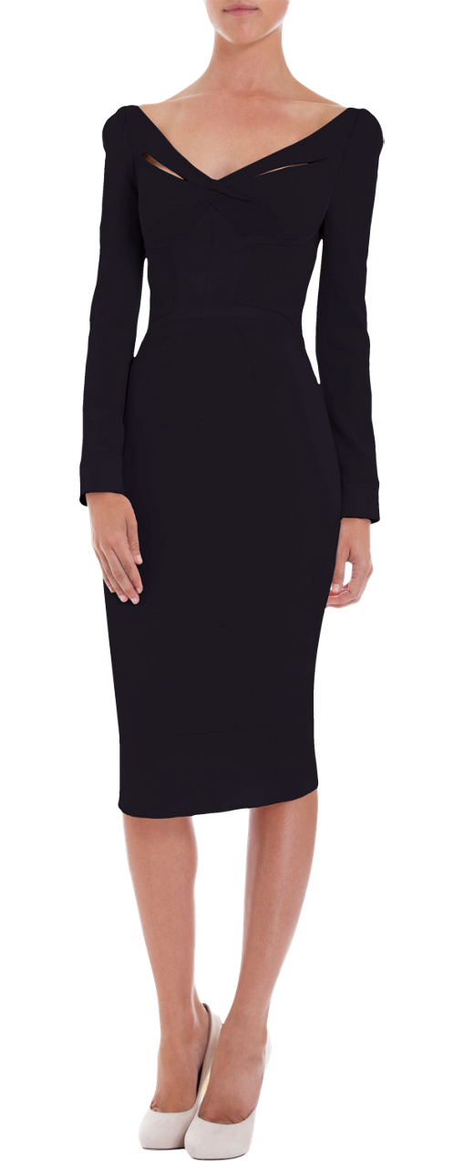Zac Posen Long Sleeve Wide V-Neck Dress