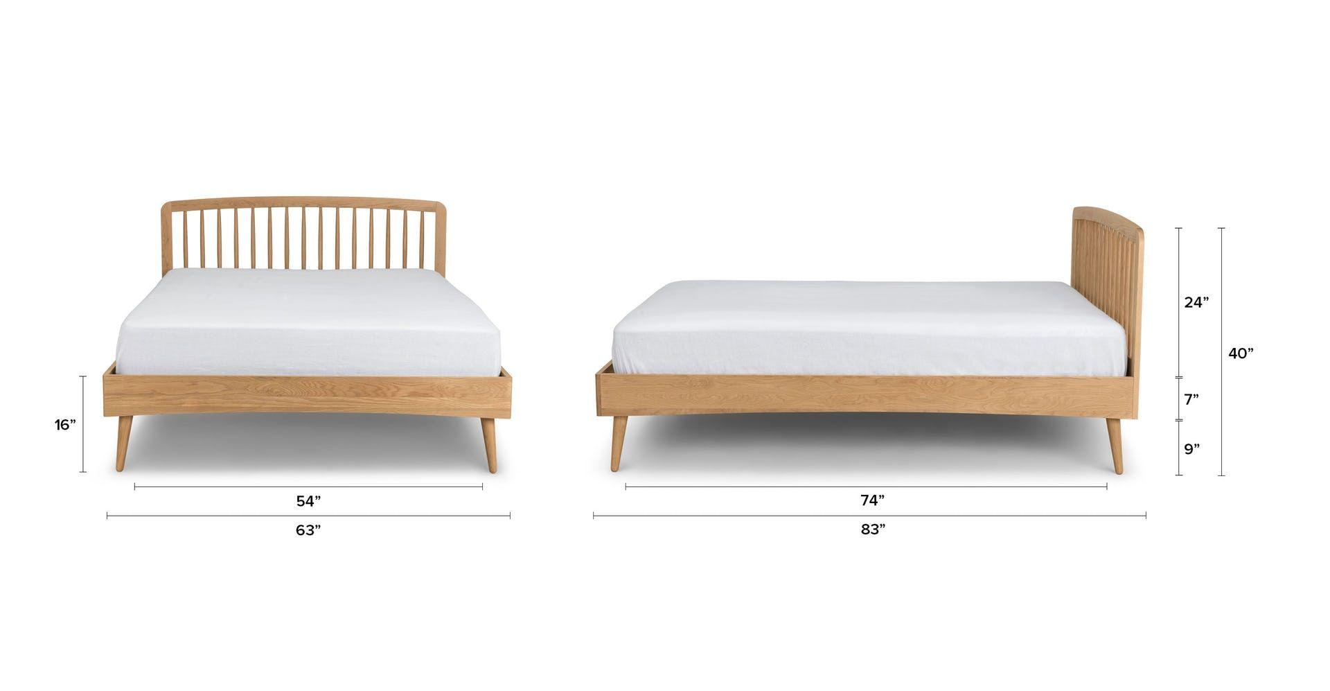 Best Culla Spindle Oak Queen Bed Mid Century Modern Bedroom 640 x 480