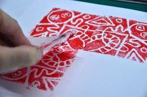 Prints in radial symmetry with styrofoam