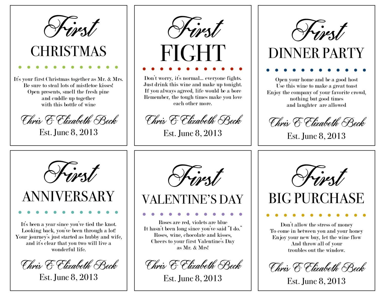 Marriage Firsts- Wine Labels- Milestones- Married Custom Set of 6 ...