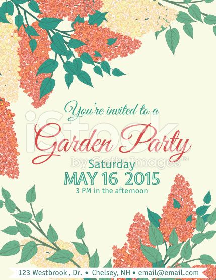 Garden Party vertical Invitation Template with orange and peach ...