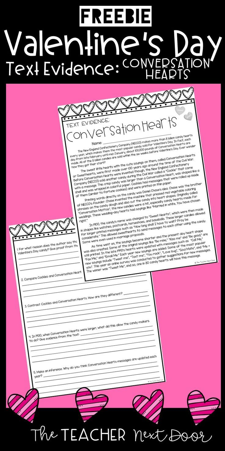 Freebie Text Evidence for Conversation Hearts Text