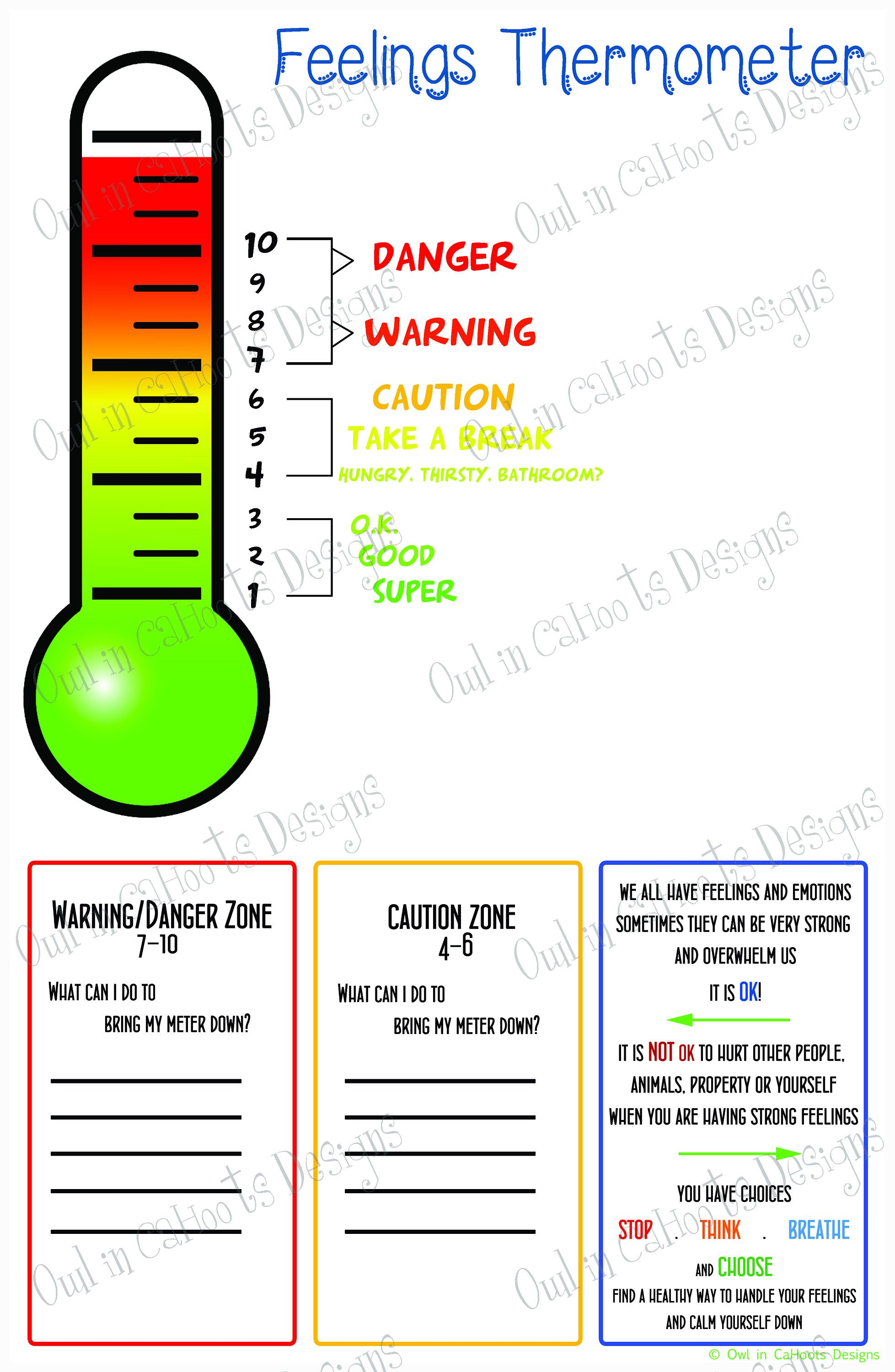 Feelings Thermometer Chart Digital Download Behavior