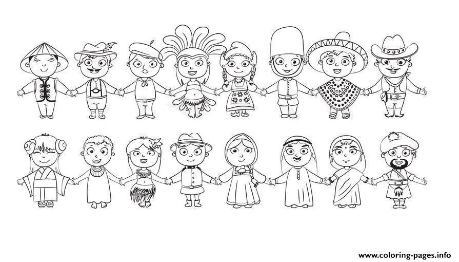 Print world kids nationalities blanc and white diversity